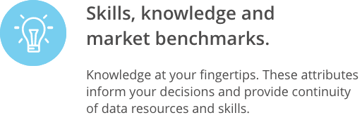 Skills, knowledge and market benchmarks.